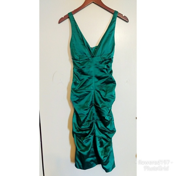 Cach Green Ruched Cocktail Dress